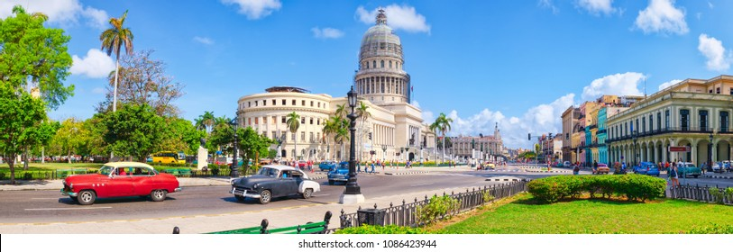 HAVANA,CUBA - MAY 3,2018 : High resolution panoramic view of downtown Havana with the Capitol building and classic american cars