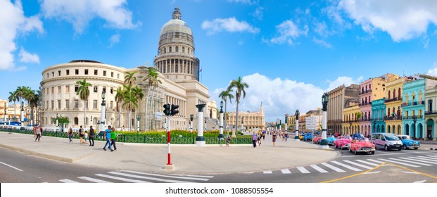 HAVANA,CUBA - MAY 3,2018 : High resolution panoramic view of downtown Havana with the Capitol building and classic cars