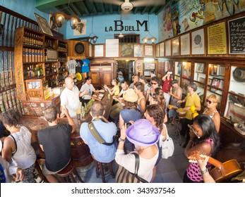 HAVANA,CUBA - NOVEMBER 12, 2015 : La Bodeguita del Medio, a worldwide famous cuban restaurant