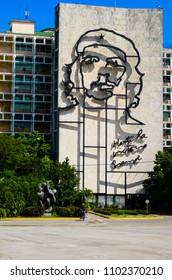 HAVANA,CUBA-MAY 10,2018 : Metallic sculpture of Che Guevara in the Revolution Square.