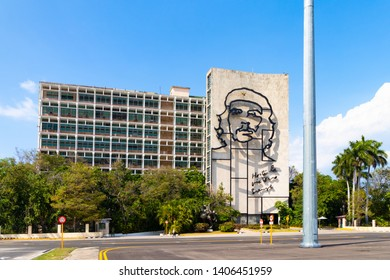 HAVANA,CUBA-MAY 21,2019 : Metallic sculpture of Che Guevara in the Revolution Square.
