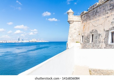 HAVANA,CUBA-MAY 28,2019 : View of the walls and watchtower of El Morro fortress in Havana.