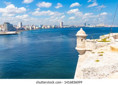HAVANA,CUBA-MAY 28,2019 : Wide view of the Havana Bay from the walls of El Morro fortress.