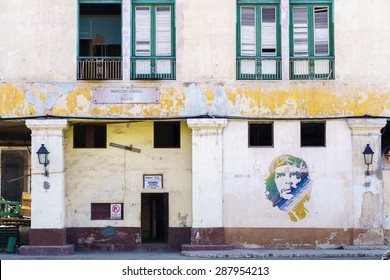 HAVANA-FEB 05 a graffiti with the portrait of Che Guevara on February 05,2015 in Havana, Cuba. He, was an Marxist revolutionary, physician, author, leader, diplomat, and military theorist