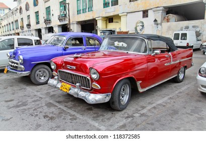 HAVANA-FEBRUARY 1:Classic american cars February 1, 2010 in Havana.Before a new law issued on October 2011,cubans could only trade old cars that were on the road before the revolution of 1959