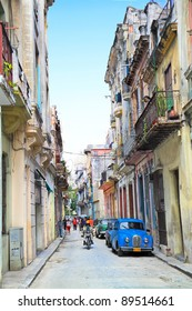 HAVANA-FEBRUARY 3: Street in old Havana. These old cars made before 1959 were the only ones that could be privately bought and sold until a new law was introduced on February 3, 2010 in Havana, Cuba