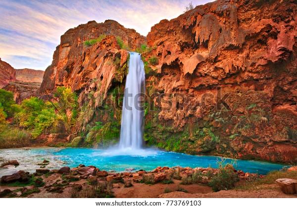 Havasu Falls at sunrise.