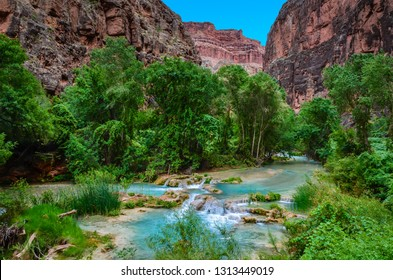 """Havasupai is roughly translated as """"The people of the blue-green waters,"""" which refers to the beautiful turquoise color of Havasu Creek."""