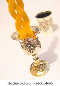 Havdalah candle holder for the end of Shabbat ceremony