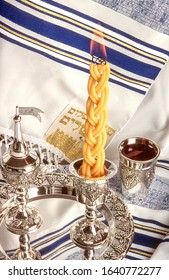 Havdalah set -  candle, wine and spices for the end of Shabbat ritual - Jewish traditions