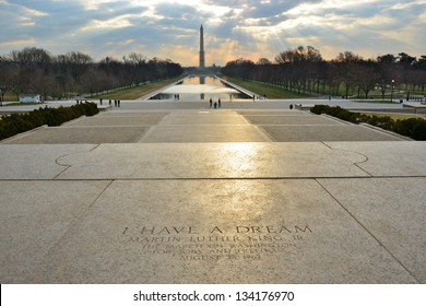 I have a Dream, Martin Luther King on Lincoln's Memorial steps with George Washington Monument on the horizon, Washington DC, United States