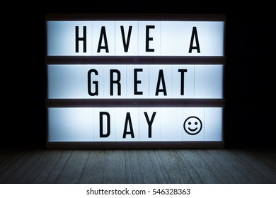 'Have a great day' text in lightbox