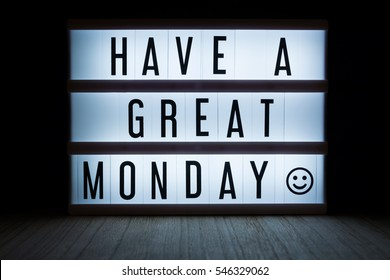 'Have a great monday' text in lightbox