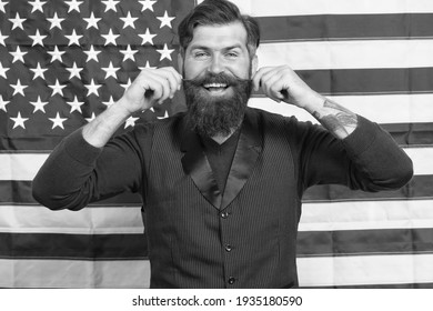 Have happy holidays. Promoting american values. Confident businessman american flag background. 4 of july. Independence day. Celebration of freedom. Cultural identity. American man celebrate holiday.