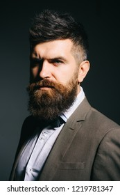 I have a personal barber. Man with long beard in business wear. Business as usual. Mens fashion. Bearded man after barber shop. You cannot get into business for the fashion of it.