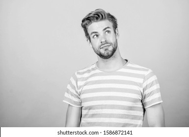 Have some doubts. Thoughtful expression. Need to think. Find solution. Hard question. Man serious face thoughtful. Hipster bearded face not sure in something. Thoughtful man on blue background.