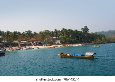 HAVELOCK ISLAND, ANDAMAN AND NICOBAR, INDIA 12 FEBRUARY 2016 : Local fisherman's boat at sea. Havelock Island is one of the premier tourist destination in the Andaman and Nicobar Islands, India