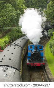 Haverthwaite - June 14, 2014 - Lakeside and Haverthwaite Railway in Haverthwaite, England, on June 14.2014. L&H Railway is located in the picturesque Leven Valley at the southern end of Windermere.