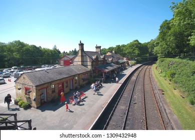 Haverthwaite railway station, Lake District, England, May 29, 2018. It is railway station on the preserved Lakeside and Haverthwaite Railway.  The station opened on the 1 June 1869.