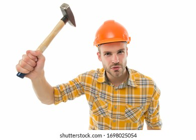 Having always hand at carpentry. Carpenter hold hammer isolated on white. Carpentry and renovation. Carpentry shop. Home improvement business. Building and construction. Being skilful at carpentry.