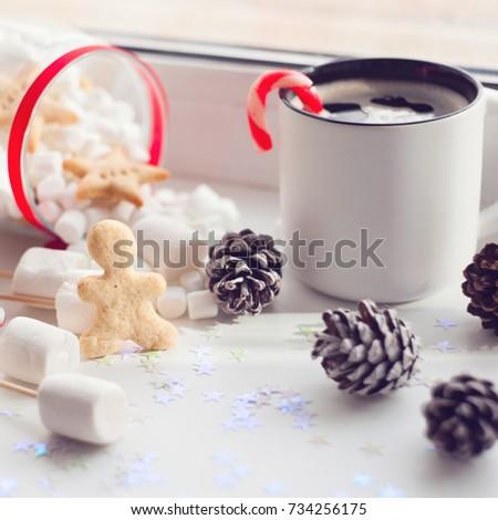 Coffee Christmas Morning.Having Coffee Christmas Morning Cup Coffee Stock Photo Edit