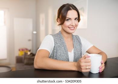 Having cup of hot tea