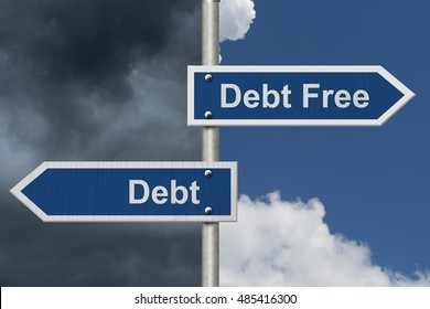 Having Debt versus being Debt Free, Two Blue Road Sign with text Debt Free and Debt with sky background, 3D Illustration