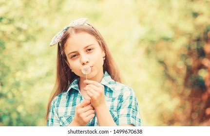 Having fun. Girl rustic style making wish and blowing dandelion nature background. Why people wish on dandelions. Celebrating summer. Dandelion beautiful and full symbolism. Light as dandelion.