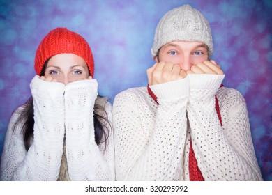 having fun in wintertime male portrait