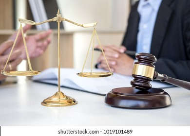 Having meeting with team at law firm, Consultation between a female lawyer and businesswoman customer, tax and contract the company of real estate concept.