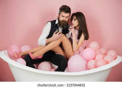 Having their own daily routine. Couple in love relax in bathroom. Family couple enjoy everyday hygiene. Healthy life style. Everyday family life. Routine of everyday life. Alcohol addiction is bad.