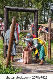 HAVRANOK, SLOVAKIA - JULY 12: Example of medieval execution at celtic hill fort on July 12, 2014 in Havranok
