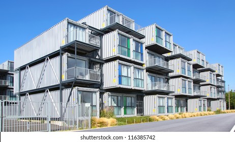 HAVRE, FRANCE-AUGUST 09:A hostel for students from containers. A new type of modular and eco-friendly houses.The idea originated in the Netherlands and built in Havre;August 09,2012 in Havre,France