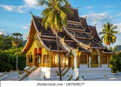 The Haw Pha Bang Temple or Royal Palace of Luang Prabang at Luang Prabang National museum with blue sky, Luang Prabang, Laos