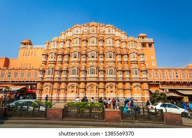 HAWA MAHAL, JAIPUR - MAR 2: Hawa Mahal palace or Palace of the Winds on March 2, 2019 in Jaipur, India. Hawa Mahal is one of the most famous Rajasthan landmark in Jaipur.
