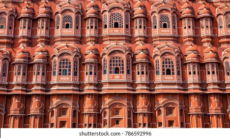 Hawa Mahal Jaipur Rajasthan architecture details close up view.