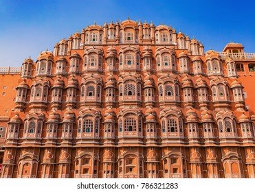Hawa Mahal Jaipur Rajasthan in closeup view with architectural details. A popular landmark of Rajasthan, India.