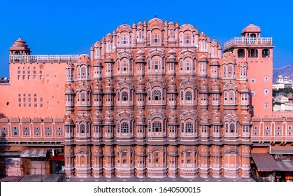 Hawa Mahal, Jaipur, Rajasthan, India, a five-tier harem wing of the palace complex of the Maharaja of Jaipur, built of pink sandstone in the form of the crown of Krishna, Palace of the Winds