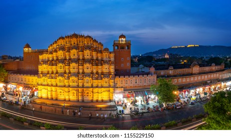 Hawa Mahal on evening, Jaipur, Rajasthan, India. An UNESCO World heritage. Beautiful window architectural element.