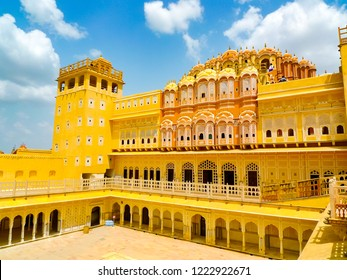Hawa Mahal palace (Palace of the Winds), internal courtyard and rear facade, Jaipur, Rajasthan, India