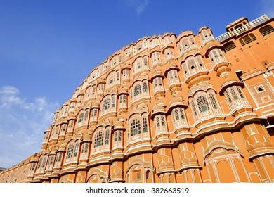 Hawa Mahal palace (Palace of the Winds) in Jaipur, Rajasthan, India. Famous Rajasthan Indian landmark.