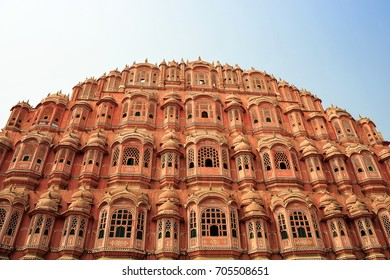Hawa Mahal - Palace of the Winds, Jaipur, India. Built with red and pink sandstone in a honeycomb design, it has 953 small windows (jharokhas) for royal women of old to observe everyday life, unseen.