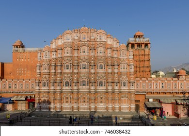 Hawa Mahal, Palace of Winds and the moon, Jaipur, Rajasthan, India