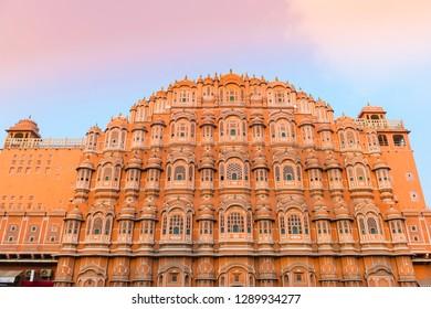 Hawa Mahal palace (Palace of the Winds) at sunset in Jaipur, Rajasthan, India
