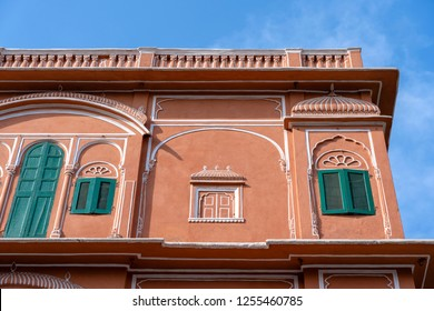 Hawa Mahal, pink palace of winds in old city Jaipur, Rajasthan, India. Background of indian architecture, close up