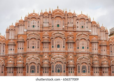 Hawa Mahal (Wind Palace) in Jaipur, India. Hawa Mahal is a grandstand in Jaipur, India. It has five storeys and is constructed of red and pink.