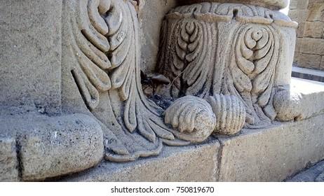 hawa mahal or wind palace pillars bottom side