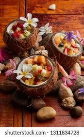 Hawaian fruit salad, coconut with fruitsalad