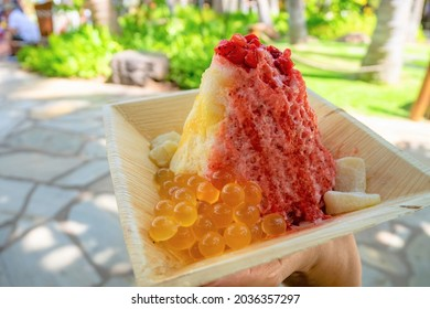 Hawaian Shaved ice with Lilikoi syrup