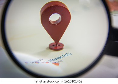 Hawaii city in focus on United states of America map with a location GPS icon world map